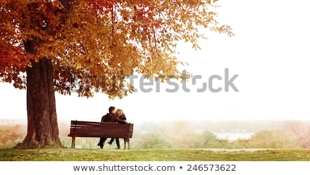 Rear view of couple looking at lake Stock photo © Kzenon