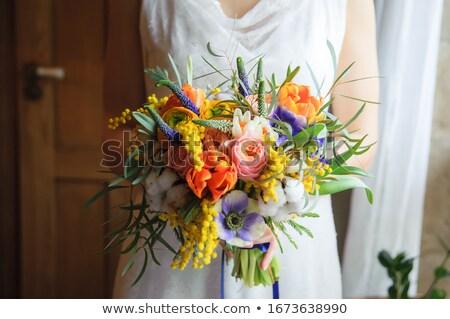 Noiva belo brilhante buquê de casamento mulher Foto stock © ruslanshramko