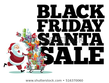 Cosul de cumparaturi complet Cadouri text black friday diferit Imagine de stoc © nito