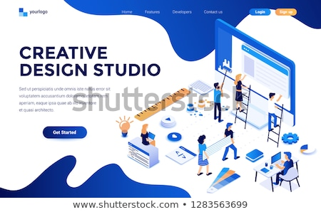 isometric flat vector landing page template of website builder stock photo © tarikvision