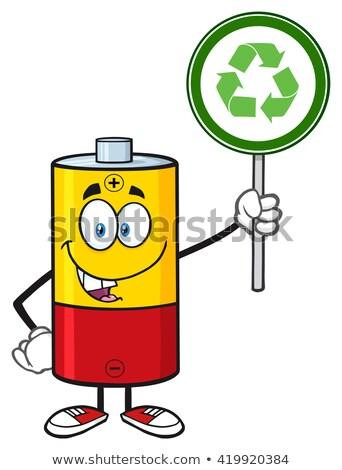 Cute batteria mascotte carattere riciclare Foto d'archivio © hittoon