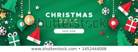 Noel web afiş renk çam ağacı neşeli Stok fotoğraf © cienpies