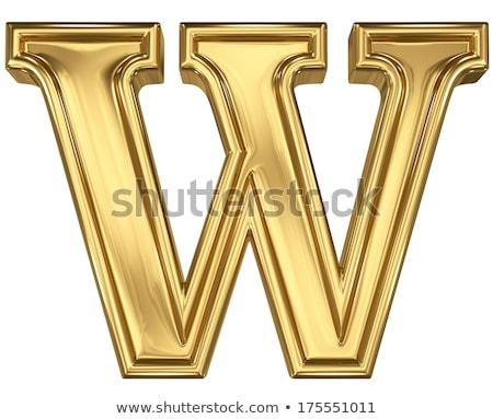 Golden font letter W 3D stock photo © Milic Djurovic (djmilic