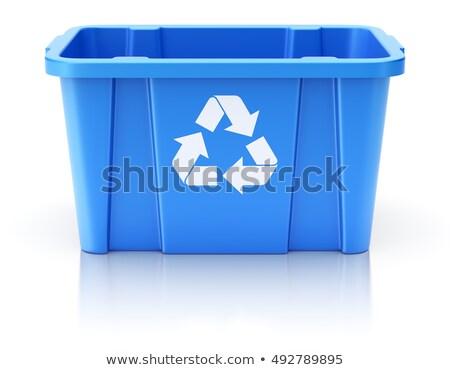 Kék újrahasznosít tároló 3D renderelt kép illusztráció Stock fotó © djmilic
