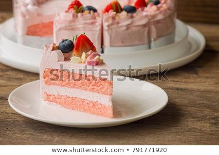 Rose gâteau baies délicieux mascarpone crème Photo stock © YuliyaGontar