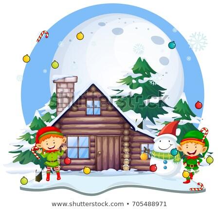 Karácsony hóember kunyhó illusztráció tájkép hold Stock fotó © colematt