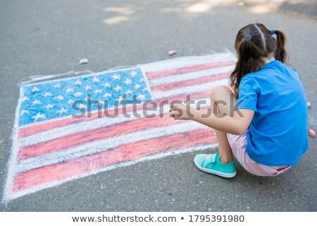 патриотический · дети · два · американский · флагами - Сток-фото © JamiRae