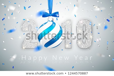 Stock photo: Happy New Year 2019, silver numbers design of greeting card,  falling shiny confetti, Xmas ball with