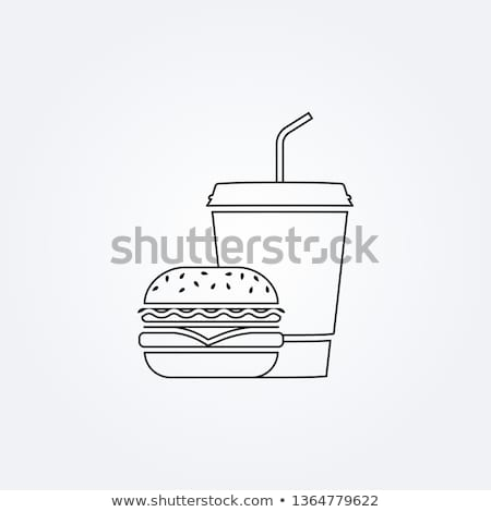 Refreshing Drinks and Big Burger Illustration Stock photo © robuart