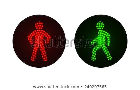 feux · de · circulation · isolé · blanche · lumière · rouge · lampe - photo stock © marysan