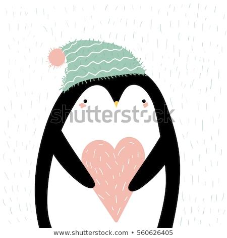 Cute Penguin Cartoon Character Holding Valentine Love Heart Stock photo © hittoon