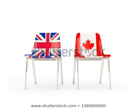 Two chairs with flags of UK and canada isolated on white Stock photo © MikhailMishchenko
