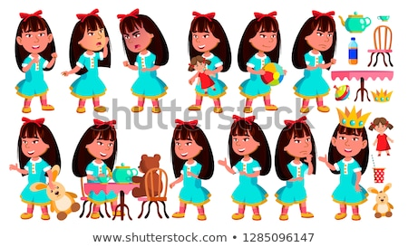 Asian Girl Kindergarten Kid Poses Set Vector. Baby Expression. Preschooler. For Card, Advertisement, Stock photo © pikepicture