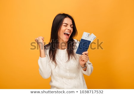 Fille passeport illustration femme sourire Voyage Photo stock © adrenalina