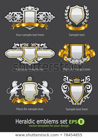 heraldic vintage emblems set silver and gold stock photo © loopall