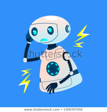 Faulty Broken Robot Emits Electrical Discharges Vector. Isolated Illustration Stock photo © pikepicture