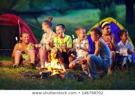 çocuklar kamp şenlik ateşi doğa çocuklar kamp Stok fotoğraf © robuart