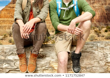 close up of couple over grand canyon Stock photo © dolgachov