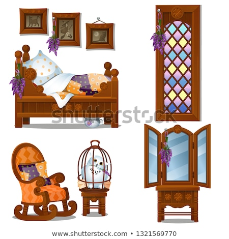 set of wooden furniture in the style of halloween isolated on white background vector cartoon close stock photo © lady-luck