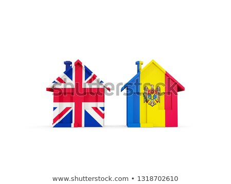 Two houses with flags of United Kingdom and moldova Stock photo © MikhailMishchenko