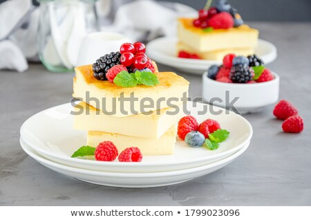 Cottage cheese casserole served. Healthy nutrition breakfast Stock photo © Len44ik
