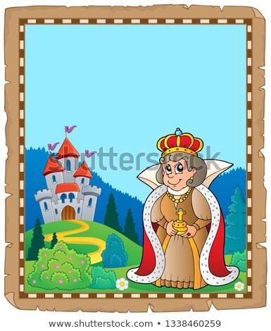 Pergamin królowej zamek papieru architektury ubrania Zdjęcia stock © clairev