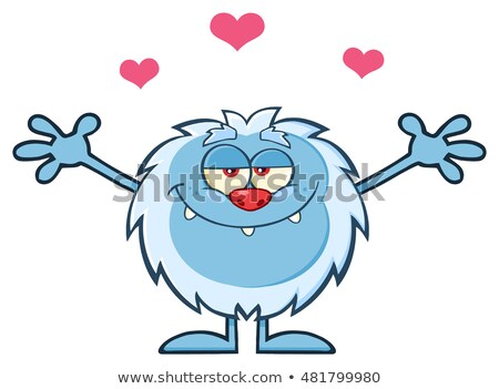 Smiling Cute Monster Cartoon Character With A Heart And Open Arms Stock photo © hittoon