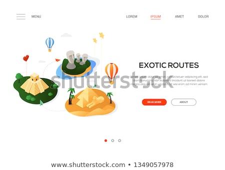 Egzotik modern renkli izometrik web afiş Stok fotoğraf © Decorwithme