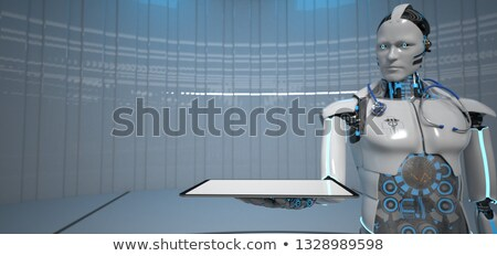humanoid robot medical assistant tablet pc stock photo © limbi007