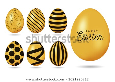 Spring Easter web sale banner with gold luxury egg Stock photo © cienpies
