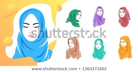 Beautiful woman wearing colorful hijab icon, hijab logo isolated Stock photo © MarySan