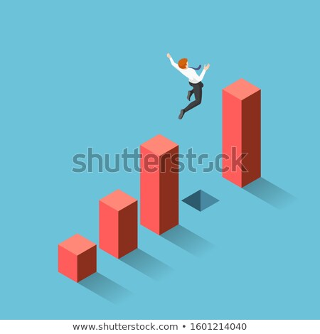 Businessman Jump Through Gap Between Cliff Vector Stock photo © pikepicture