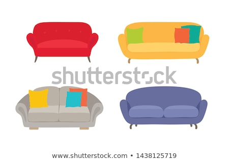 Stockfoto: Cozy Sofa, Divan, Cushioned Furniture Vector Set