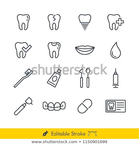 Creme dental escova de dentes linha ícone vetor isolado Foto stock © smoki