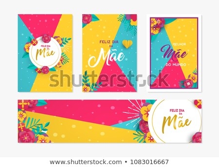 Portuguese Mothers Day card with pink rose flowers Stock photo © cienpies