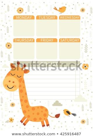 Rajz zsiráf jegyzet sablon illusztráció textúra Stock fotó © bluering