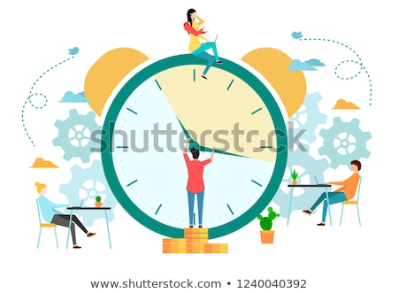 Vector concept time management creative business illustration with working people.  stock photo © Giraffarte