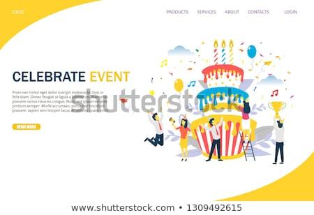 Corporate party atterraggio pagina felice minuscolo Foto d'archivio © RAStudio