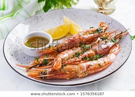 plaque · grillés · crevettes · déjeuner · bbq · repas - photo stock © yuliyagontar