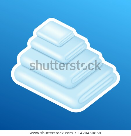 washing sticker pile stack of white clean clothes realistic good laundry detergent result vecto stock photo © marysan