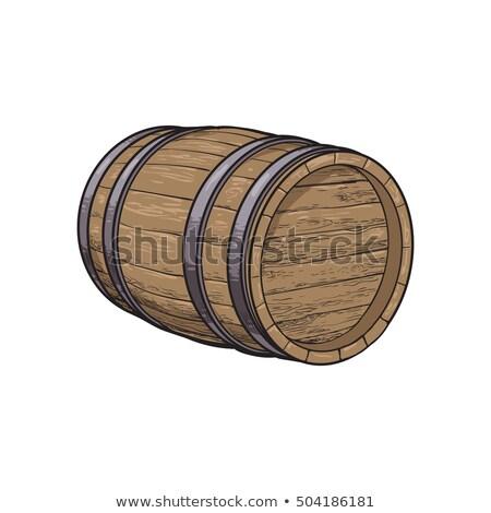 Foto stock: Vintage · barril · vista · lateral · vetor