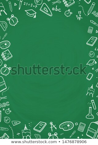 Vector illustration of green chalkboard background with doodle drawing Stock photo © ikopylov