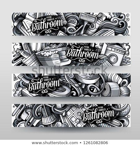 bathroom hand drawn doodle banners set cartoon monochrome detailed 4 flyers stock photo © balabolka