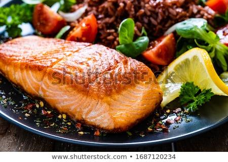 Somon fileto sebze sağlıklı beslenme kırmızı Stok fotoğraf © furmanphoto