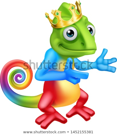 Kameleon koning kroon cartoon hagedis karakter Stockfoto © Krisdog