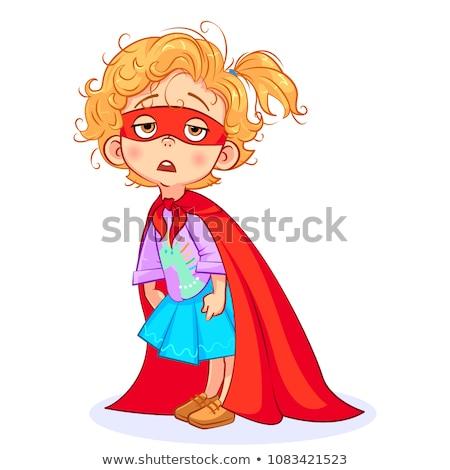 çocuk kız uykusuzluk örnek pijama yatak Stok fotoğraf © lenm
