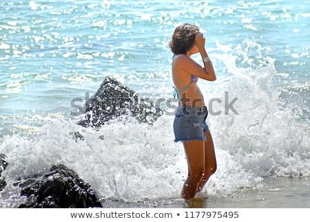 Szexi nő kék fürdőruha fiatal szexi szőke nő Stock fotó © artfotodima