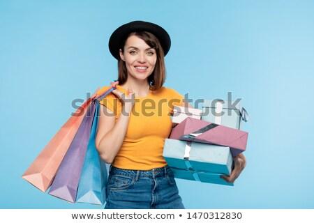 きれいな女性 · スタック · 贈り物 · かなり · 若い女性 - ストックフォト © pressmaster