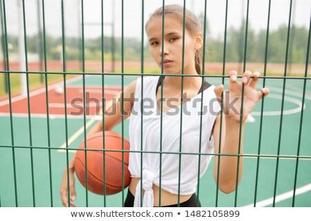 Dość dziewczyna piłka patrząc sportowe Zdjęcia stock © pressmaster