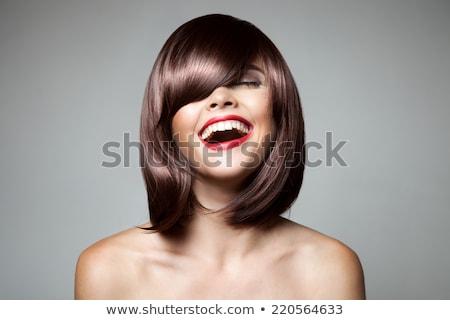 Glimlachend mooie vrouw bruin kort haar kapsel kapsel Stockfoto © serdechny